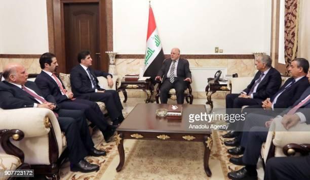 Iraqi Prime Minister Haider AlAbadi meets with Iraqi Kurdish Regional Government Prime Minister Nechirvan Barzani at his office in Baghdad Iraq on...
