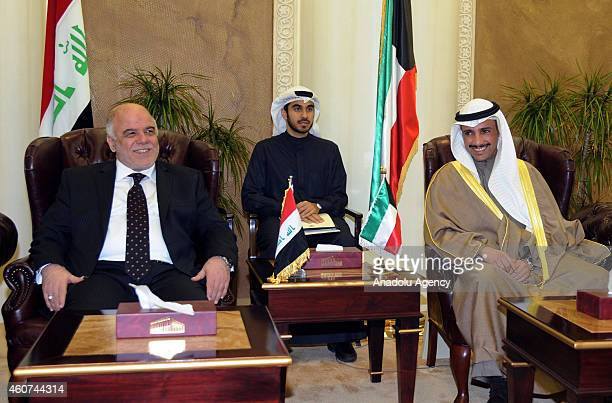 Iraqi Prime Minister Haider AlAbadi meets with Marzouq AlGhanim speaker of the Kuwaiti National Assembly during an official oneday visit in Kuwait...