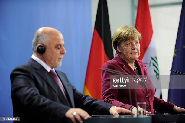 Iraqi Prime Minister Haider alAbadi speaks during a press conference together with German Chancellor Angela Merkel to the media following talks at...
