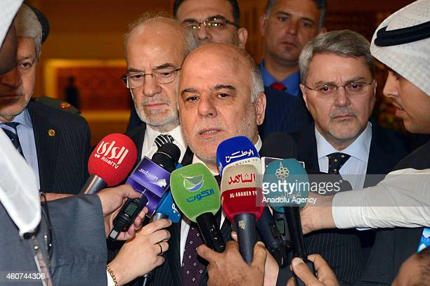 Iraqi Prime Minister Haider AlAbadi speaks to the press after his meeting with Marzouq AlGhanim speaker of the Kuwaiti National Assembly during an...