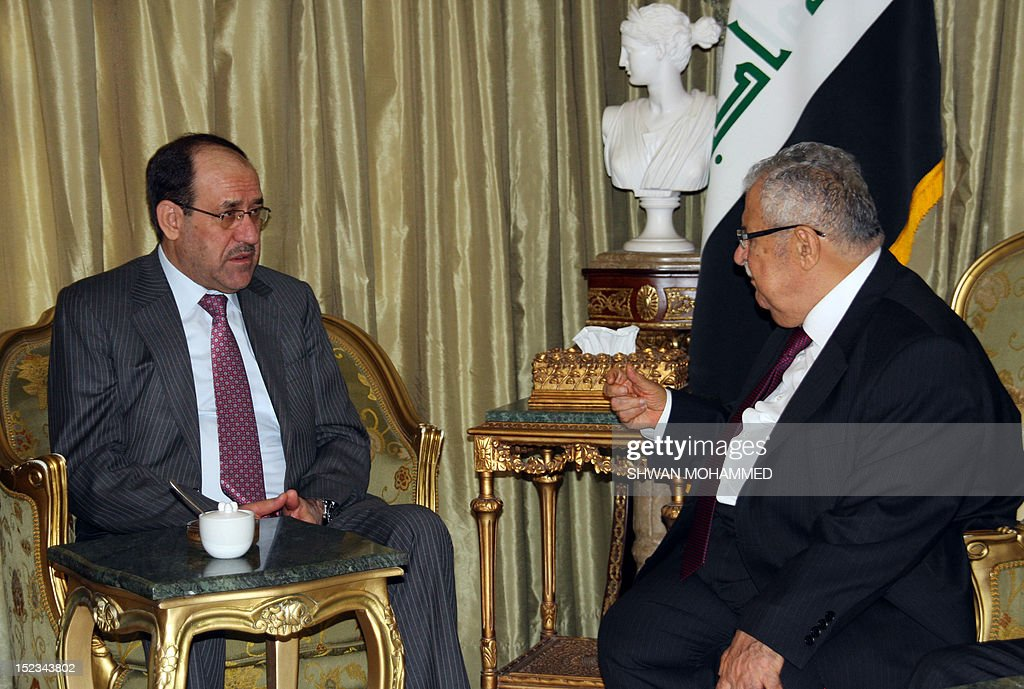 Iraqi Prime Minister Nuri al-Maliki meets with Iraqi President Jalal Talabani (R) at the latter's home, north of the Kurdish city of Sulaimaniyah to discuss differences between the Baghdad government and the Kurdistan Regional Government on September 19, 2012.