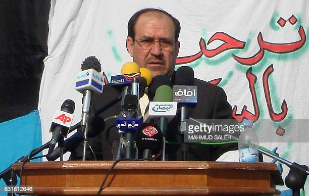 Iraqi Prime Minister Nuri alMalilki speaks during a ceremony marking the third anniversary of the bombing of the Shiite AlAskari mosque in the...