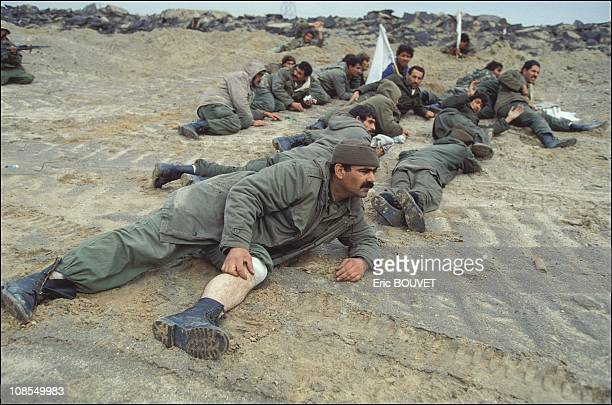 Iraqi prisoners during ground offensive in Kuwait city Kuwait on February 27th 1991