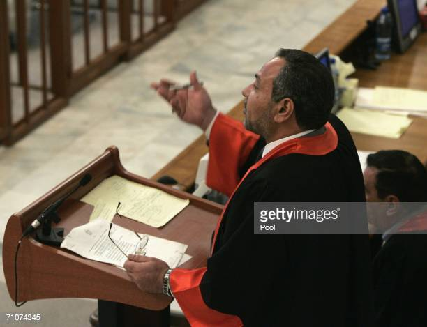 Iraqi prosecution lawyer Jafar alMusawi stresses a point during the trial of former Iraqi President Saddam Hussein held at the fortified Green Zone...