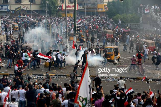 Iraqi protesters gather at Tahrir Sqaure during ongoing antigovernment demonstrations in Iraq's capital Baghdad on October 28 2019 Demonstrations...