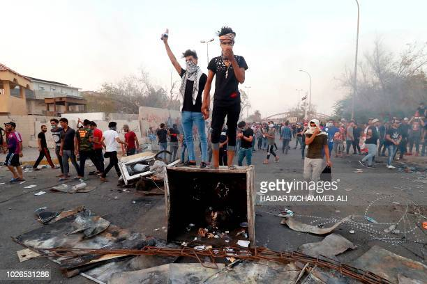 Iraqi protestors demonstrate against the government and the lack of basic services, on September 3, 2018 in the southern city of Basra. - Iraq has...