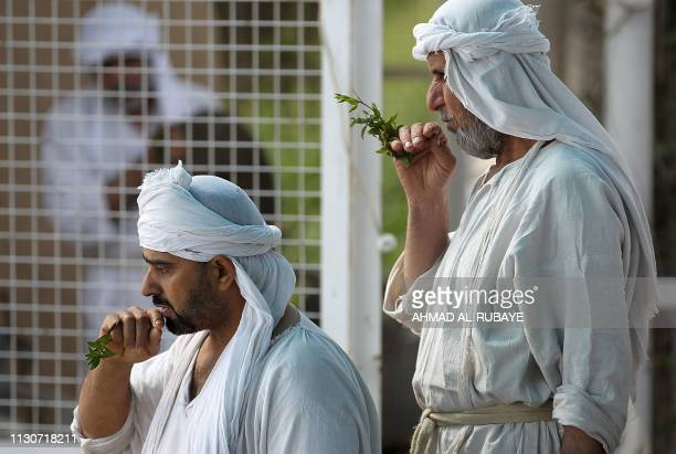 Iraqi Sabeans followers of a preChristian religion which considers the prophet Abraham as one of the founders of their faith attend a ceremony to...