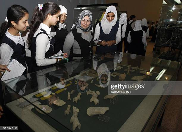 Iraqi schoolgirls and their teacher visit Baghdad's national museum on April 1 2009 Iraq has revealed that it found 4000 antiquity pieces between...