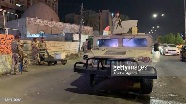 Iraqi security forces take security measurements around the Bahrain embassy building after protesters stormed the Bahrain Embassy in Baghdad Iraq on...