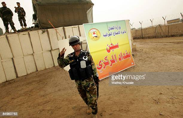 Iraqi security guards patrol outside of the newly opened Baghdad Central Prison in Abu Ghraib on February 21, 2009 in Baghdad, Iraq. The Iraqi...