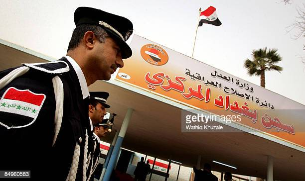 Iraqi security guards stand outside of the newly opened Baghdad Central Prison in Abu Ghraib on February 21 2009 in Baghdad Iraq The Iraqi Ministry...