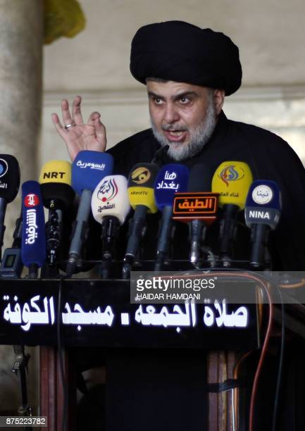 Iraqi Shiite cleric Moqtada alSadr delivers a speech during Friday prayer at the Great Mosque of Kufa 10 kilometres northeast of the shrine city of...