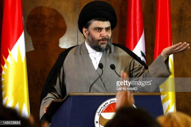 Iraqi Shiite cleric Moqtada al-Sadr speaks during a press conference in the northern Iraqi Kurdish city of Arbil during a visit to Iraq's autonomous...