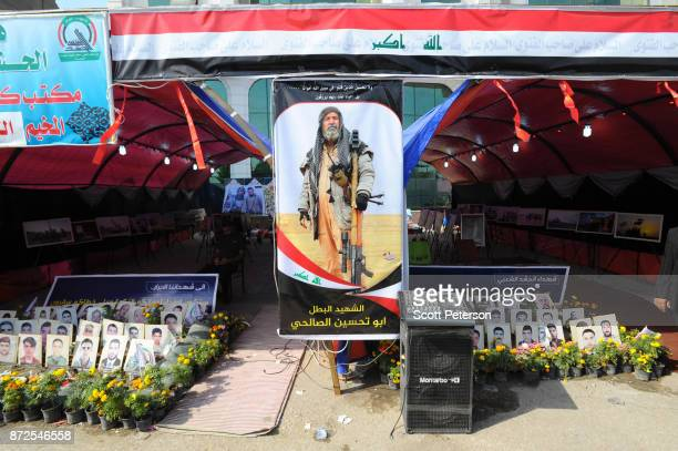 Iraqi Shiite militias called the hashd alShaabi set up a tribute to their martyrs in fighting the Islamic State since 2014 for viewing by Shiite...