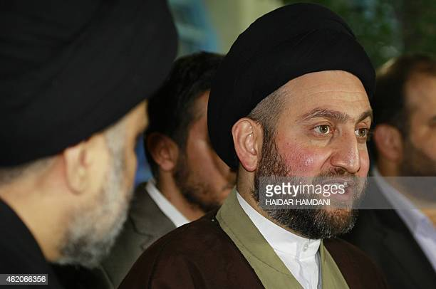 Iraqi Shiite Muslim leader Ammar al-Hakim speaks during a meeting held at his house in the southern Shiite city of Najaf on January 23, 2015 with...