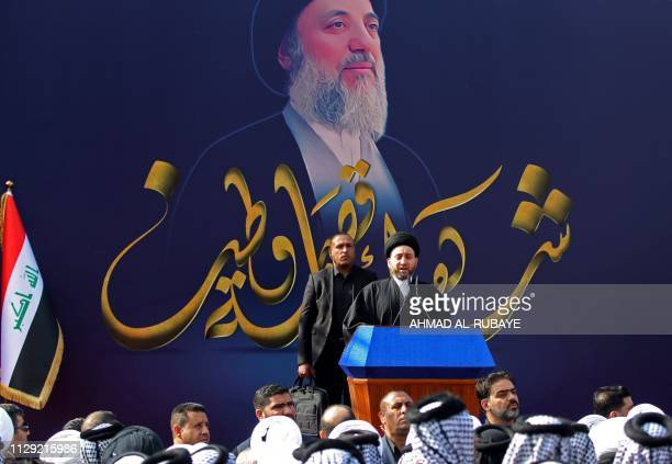 Iraqi Shiite Muslim leader and head of Hikma party Ammar alHakim speaks during the commemoration of the killing of the Shiite cleric Mohammed Baqir...