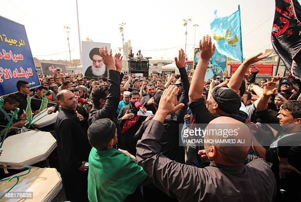 Iraqi Shiite Muslim pilgrims gather next to Imam alKadhim shrine during the commemorations marking the death of Imam Mohammed alJawad the ninth...