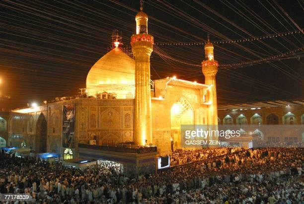 Iraqi Shiites attend a religious ceremony at the Imam Ali's shrine in the holy city of Najaf central Iraq late 03 October 2007 as Shiites head from...