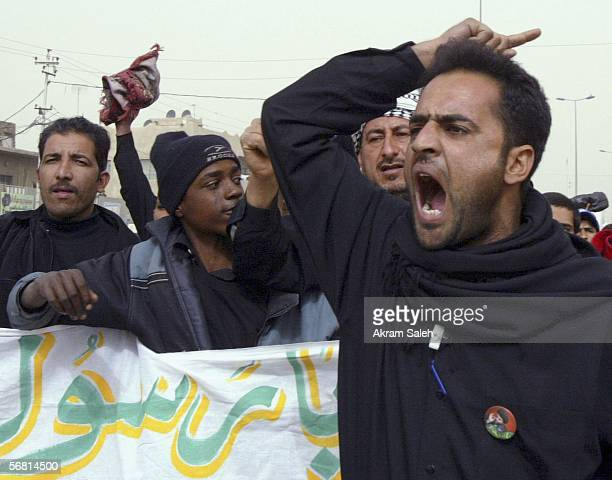 Iraqi Shiites shout slogans as they protest the publication of antiProphet Muhammad cartoons published in Danish and Norwegian publications after a...