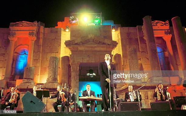 Iraqi singer Kadhem alSaher performs August 3 2001 at the main theatre of the ancient GraecoRoman city of Jerash at the 20th Jerash festival of...