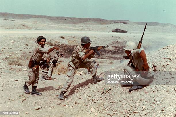 Iraqi soldiers come into conflict with Iranian troops along the border region of Iran and Iraq in July 1984 during the Iran and Iraq War | Location...