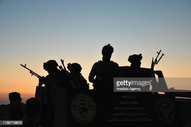 Iraqi soldiers conduct a military operation against Daesh at the rural areas of Saladdin and Kirkuk Iraq on December 29 2019