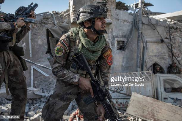 Iraqi soldiers in al-Nuri mosque complex on June 29 in Mosul, Iraq. The Iraqi Army, Special Operations Forces and Counter-Terrorism Services made a...