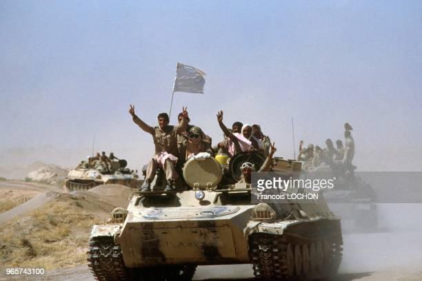 Iraqi Soldiers On Iranian Tanks The Day Of Ceasefire Of Iran Iraq War, July 19, 1988.
