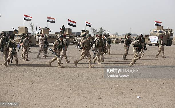 Iraqi soldiers prepare to go Mahmur district of Mosul to attend an operation aiming retake the city from ISIS on February 21 at ElTaci military camp...