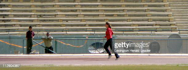 Iraqi sprinter and Olympic hopeful Dana Hussein jog around the track at a stadium in Baghdad Iraq Hussein is a sprinter and an Iraqi athlete with one...