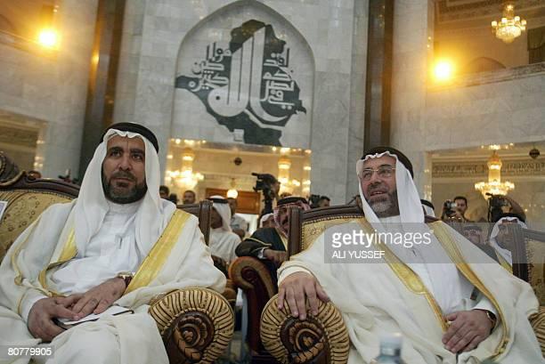 Iraqi Sunni antiAlQaeda Anbar province tribe leader Ibrahim Saleh Abu Risha and Sunni Waqf President Ahmed Abdel Ghofur alSamarrai attend a meeting...