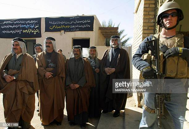Iraqi tribal sheikhs attend a ceremony to support Sheikh Muthana Hatem chief of Bani Hassan Tribe an independent election candidate in the town of As...