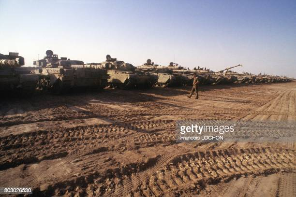 Iraqi troops seizing tanks from the Iran army in Zubeidat area on July 19 1988 in Iraq