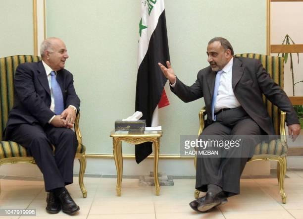 Iraqi Vice President Adel Abdel Mehdi meets with Jordan's Prime Minister Adnan Badran in Baghdad 10 September 2005 Badran held talks with his Iraqi...