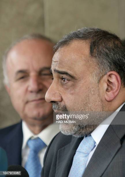 Iraqi Vice President Adel Abdel Mehdi talks to reporters after meeting with Jordan's Prime Minister Adnan Badran in Baghdad 10 September 2005 Badran...