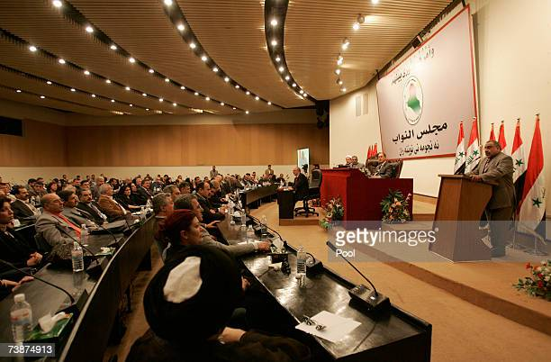 Iraqi Vice President and parliament member Adel AbdulMahdi speaks during a special session April 13 2007in Baghdad Iraq Leaders from across Iraq's...