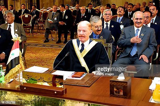Iraqi Vice President Lizatt Ibrahim Heads The Arab Summit Delegation March 28 2002 At PhoeniciaHotel In Beirut Lebanon The Arab Summit In Beirut...