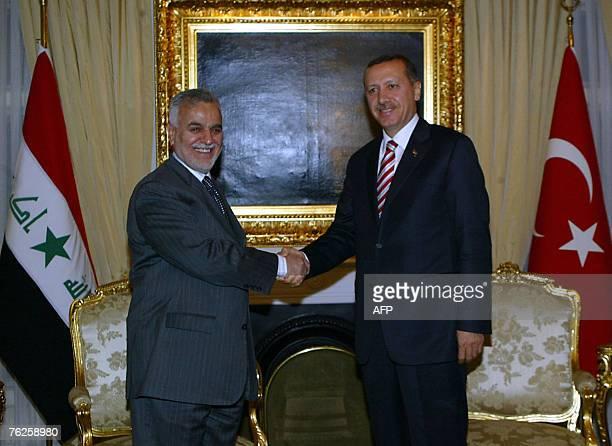 Iraqi Vice President Tareq alHashemi shakes hand with Turkish Prime Minister Recep Tayyip Erdogan in Ankara 23 August 2007 'Hashemi was invited by...