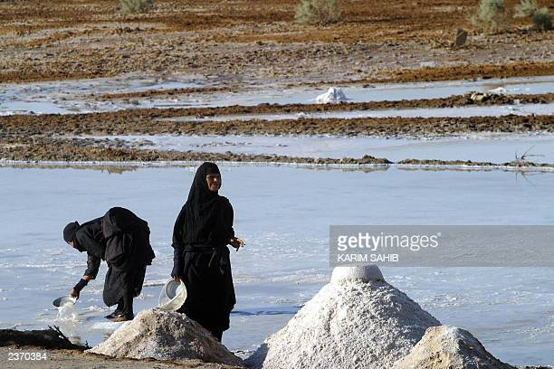 Iraqi villagers collect salt 02 August 2003 from a lake in the desert in Bahr alNajaf on the outskirts of Najaf Desperate to bring solidarity to Iraq...