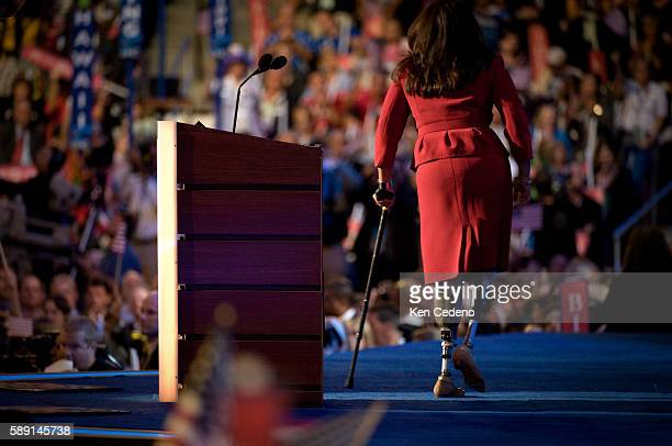 Iraqi war veteran and Illionois delagate Maj Tammy Duckworth wearing prosthetic legs as she speaks during the Democratic National Convention in Denver