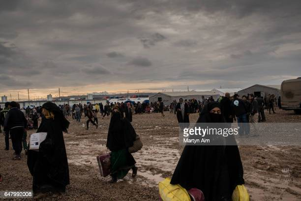 Iraqi women from west Mosul arrive at Hamam Aleel IDP camp having fled fighting in west Mosul between Islamic State and Iraqi forces March 2 2017...
