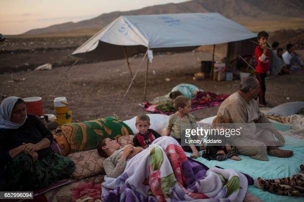 Iraqi Yazidi families camp out near the Bahjad Kandal camp near the Iraqi border with Syria in Northern Iraq August 16 2014 Since IS started making...