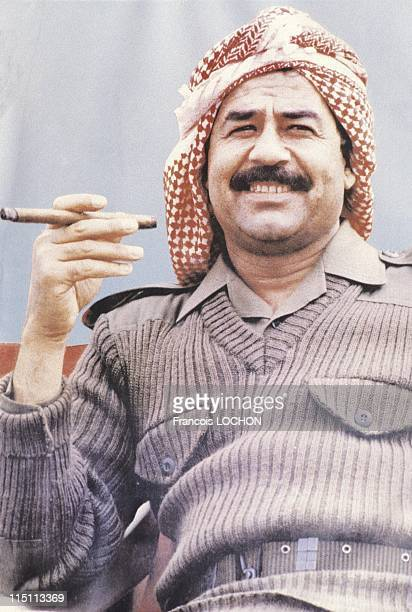 IraqIran war recovery of the Kermand mount in Iraq on July 31 1983 Saddam Hussein with a cigar