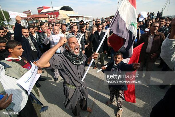 Iraqis demonstrate demanding better services and against the lack of security as Prime Minister leads a regular session of the Council of Ministers...