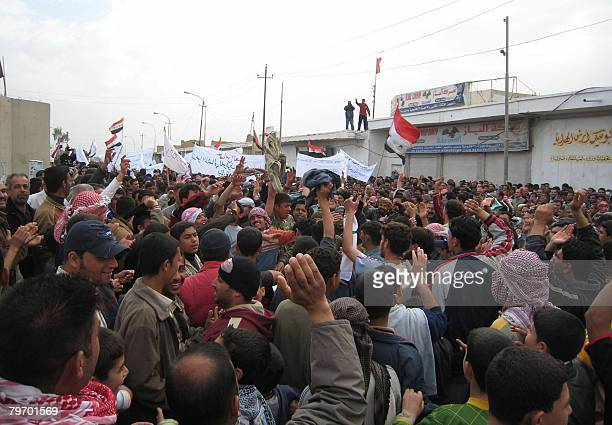 Iraqis demonstrate in the city of Baquba northeast of Baghdad on February 11 2008 Police were put today on a state of alert in Iraq's restive city an...