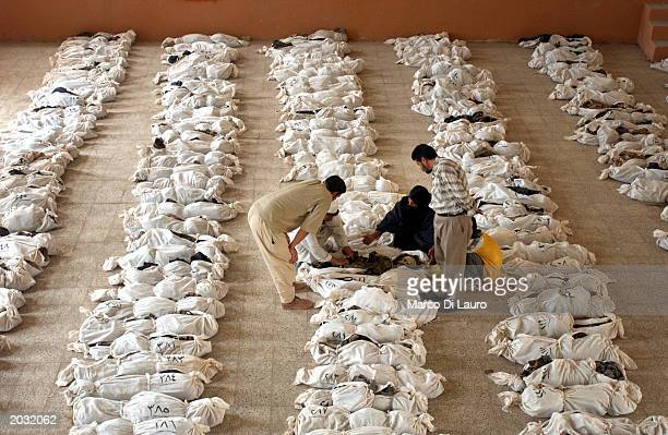 Iraqis look through the remains of hundreds of bodies trying to identify their relatives in a school where bodies have been brought from a mass grave...