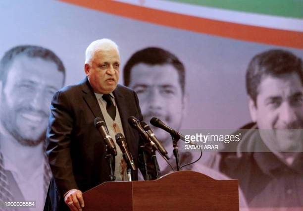 Iraqi's national security adviser Faleh Fayyad , who also is a leader of the Popular Mobilisation Froce known as the Hashed al-Shaabi, addresses a...