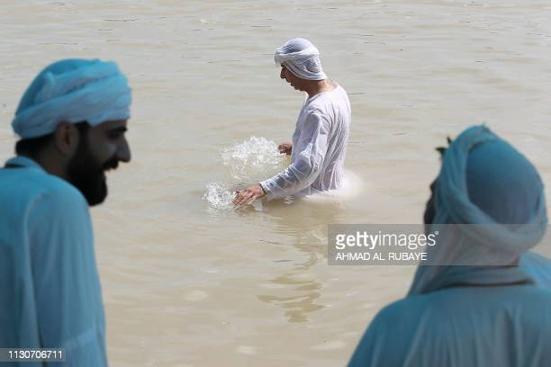 Iraqis Sabeans followers of a preChristian religion which considers the prophet Abraham as one of the founders of their faith take part in a...