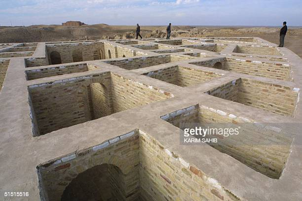 Iraqis tour the remains of The House of Abraham in the biblical city of Ur in southern Iraq 15 January 2002 The Iraqi Antiquities Department...