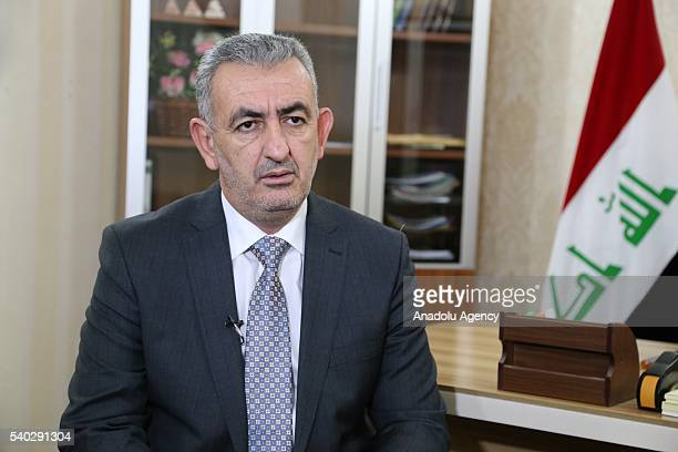Iraq's Anbar province governor Sohaib alRawi speaks about the Iraqi army operation in Fallujah during an interview in Baghdad Iraq on June 14 2016